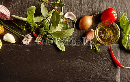 set of spices and herbs in