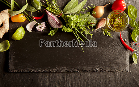 herbs spices and vegetables in kitchen