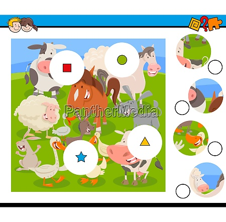 match pieces puzzle with farm animals