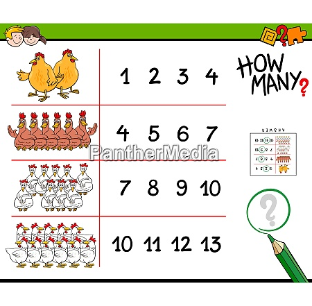 chicken counting game cartoon illustration