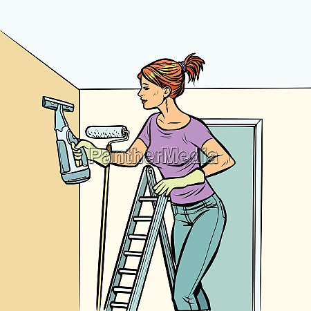home cleaning woman and spray of
