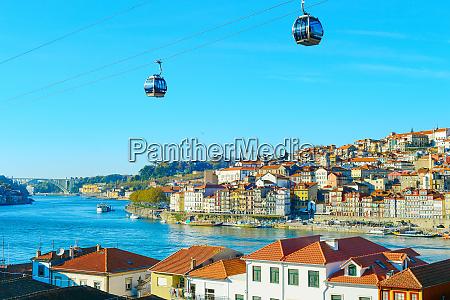 cityscape cable car porto old town