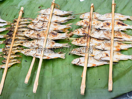 grilled river fish from an outdoor