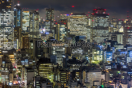 downtown city buildings at night tokyo