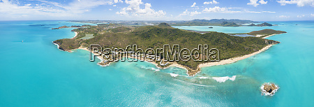 panoramic elevated view of hawksbill bay
