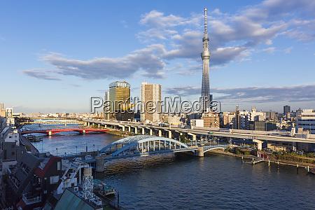 city skyline and skytree on the