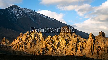 mount teide volcano at sunset mount