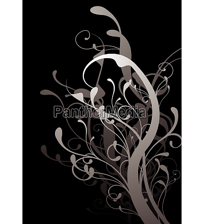 black and gray floral abstract background