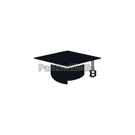 concept of graduation cap with bitcoin