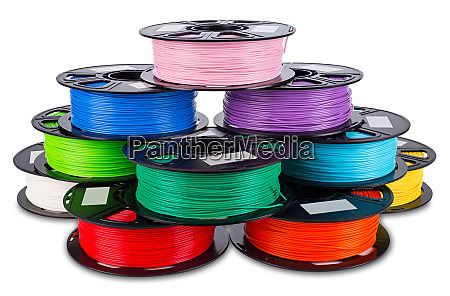 colorful bright stack pile of spool