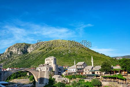 old bridge in historic mostar bosnia