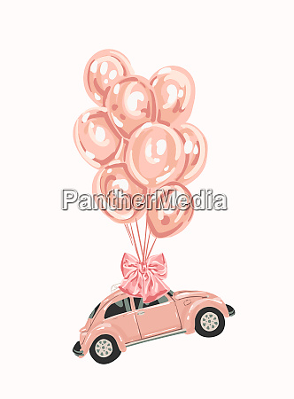 pink female car with balloons for