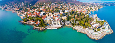 town of opatija and lungomare sea