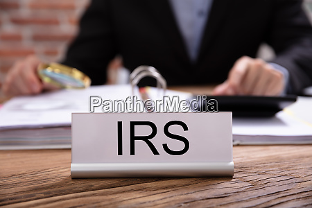 nameplate with irs title kept on