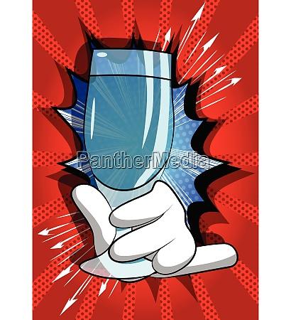 cartoon hand holding full glass