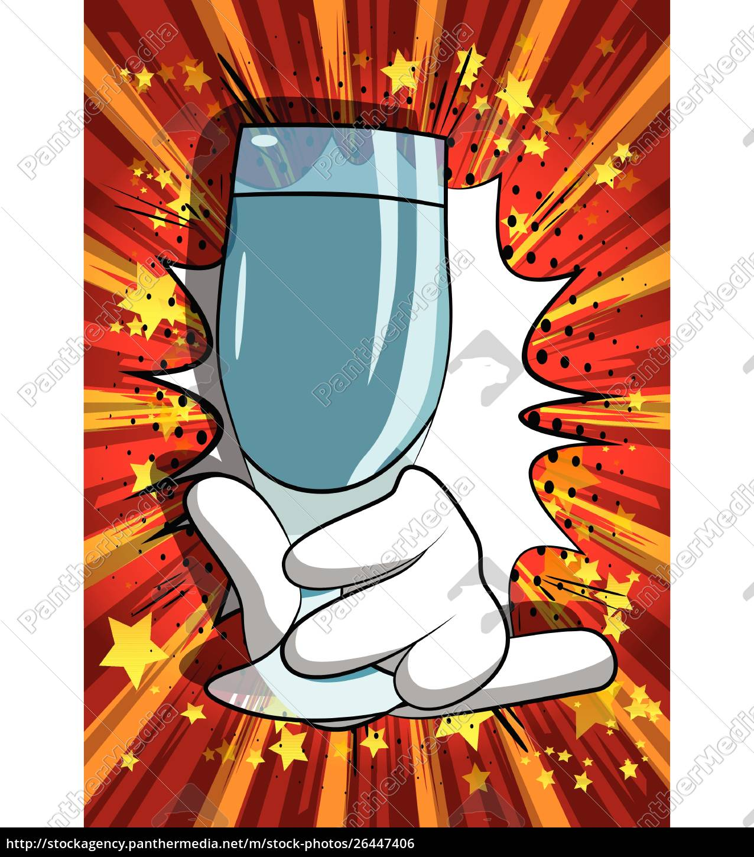 cartoon, hand, holding, full, glass. - 26447406