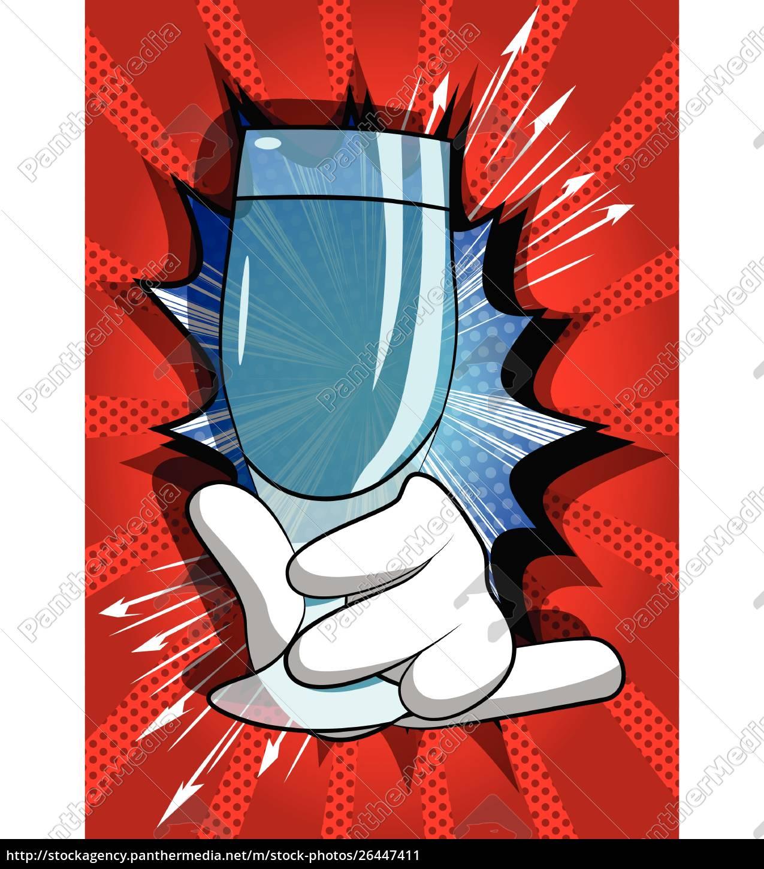cartoon, hand, holding, full, glass. - 26447411