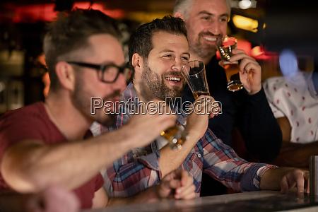 enjoying a beer together