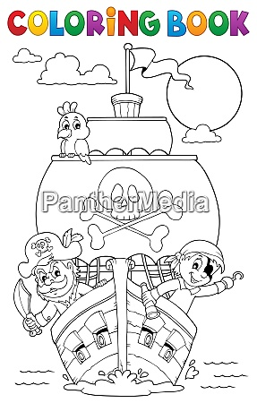 coloring book vessel with pirates