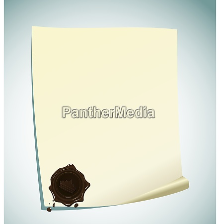 illustration of paper with brown wax