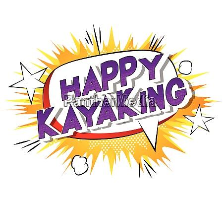 happy kayaking comic book style
