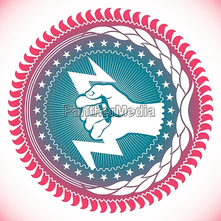 modish emblem with powerful fist