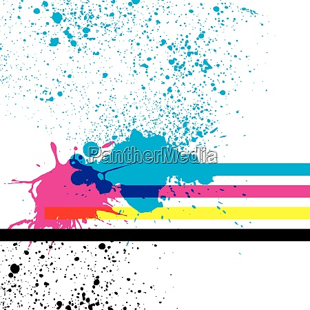 paint splashes with cmyk colors