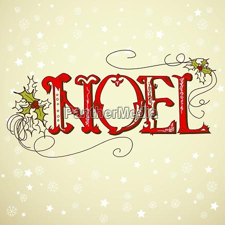 vintage christmas card noel lettering