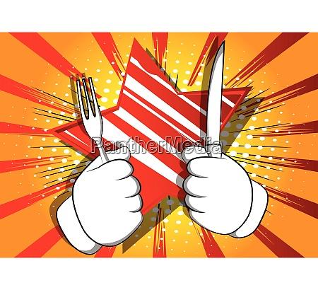 cartoon hand holding up a knife