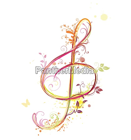 vector illustration of floral music