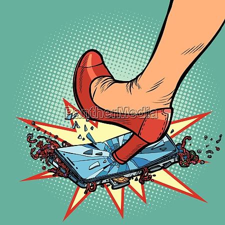 woman heel smashes phone screen
