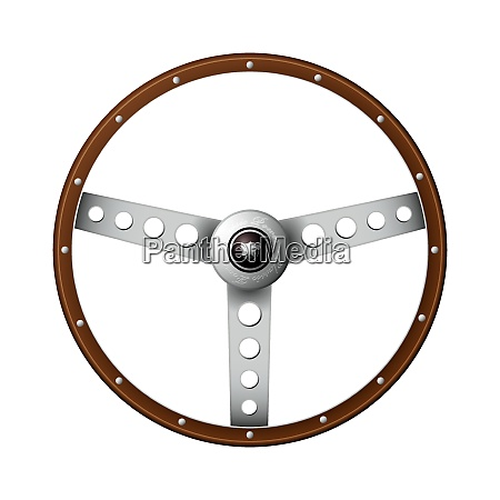 wooden rim steering wheel with classic