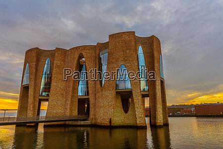 waterfront building in vejle harbor