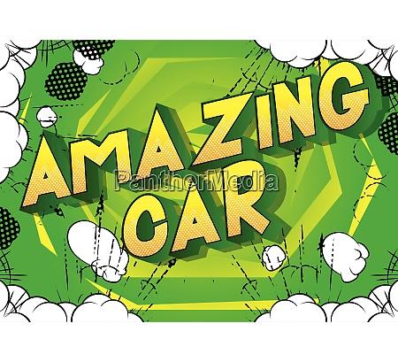 amazing car comic book style