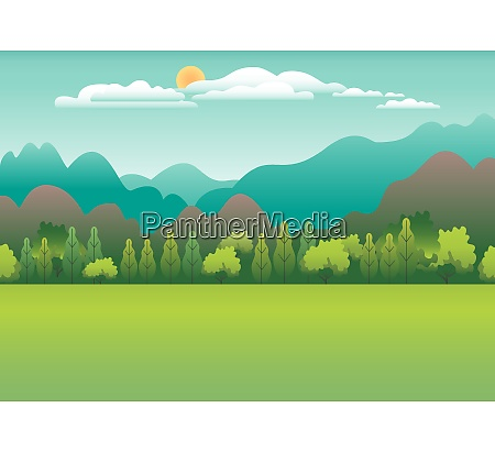 hills and mountains landscape in flat