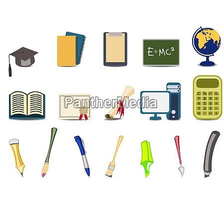 vector illustration of academyeducational icons set