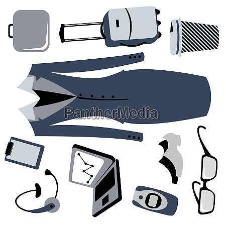 vector illustration of bussiness woman accessories