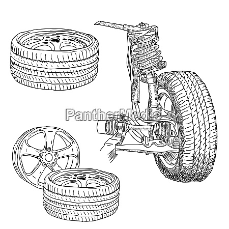 race car shock absorber and wheel