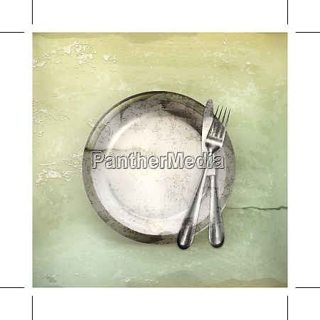 dinner place setting old style vector