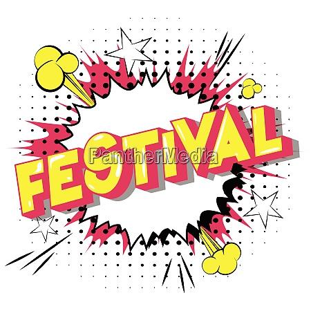 festival comic book style phrase