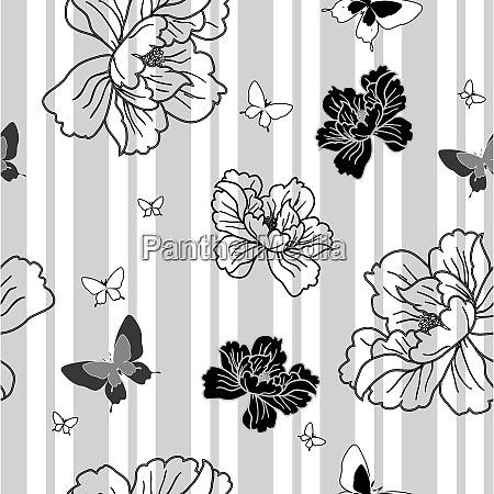 seamless wallpaper flowers and butterflies