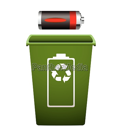 dead battery with green recycle bin