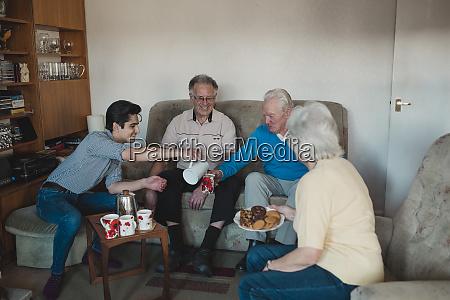 seniors having a tea party at