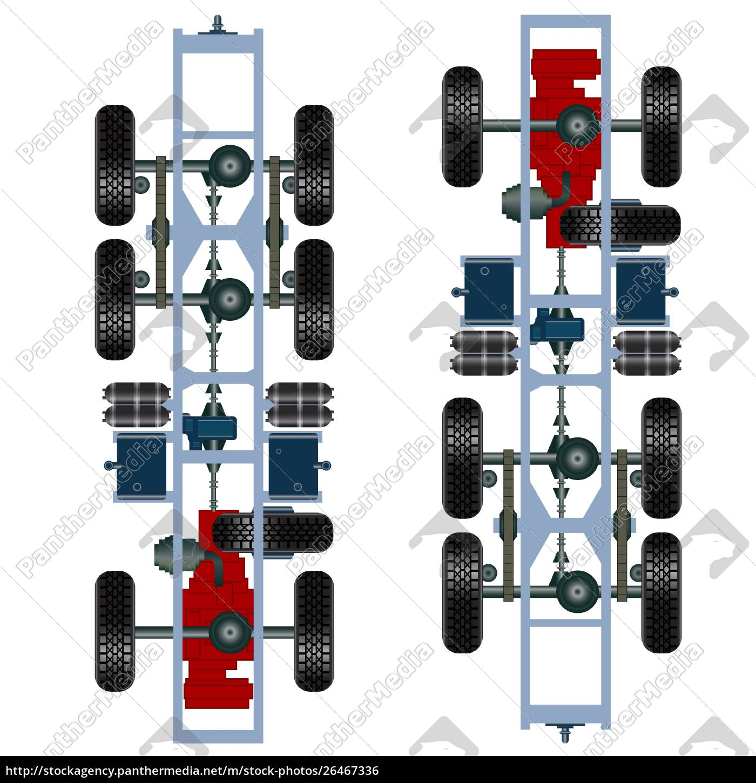 truck, suspension, , top, view., vector, illustration - 26467336
