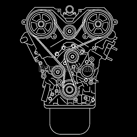 racing engine front view vector illustration