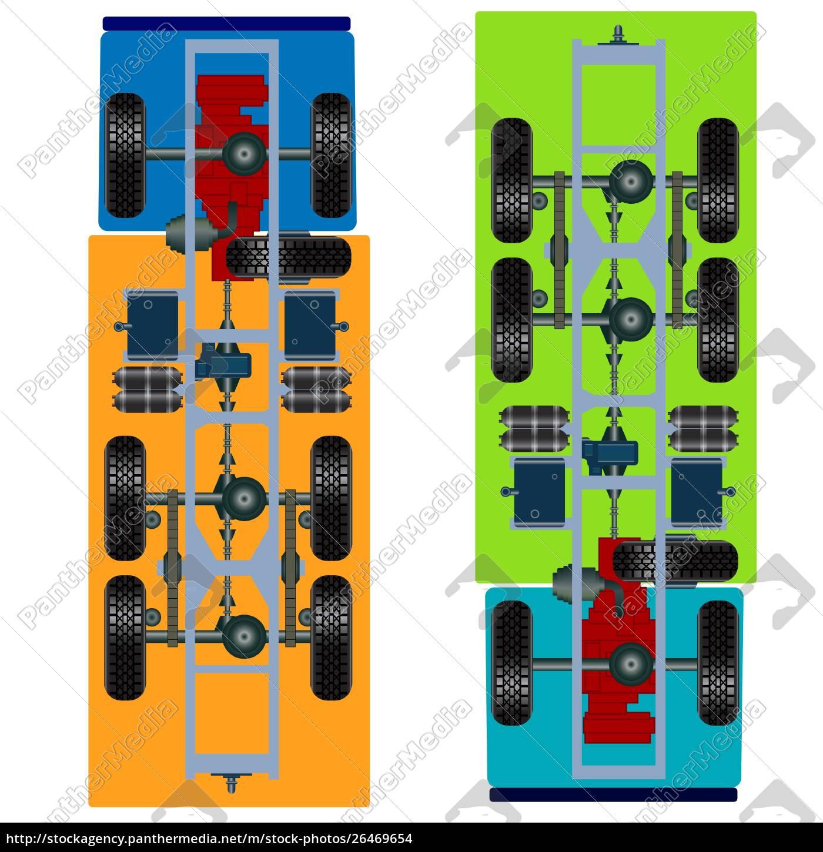 truck, suspension, , top, view., vector, illustration - 26469654