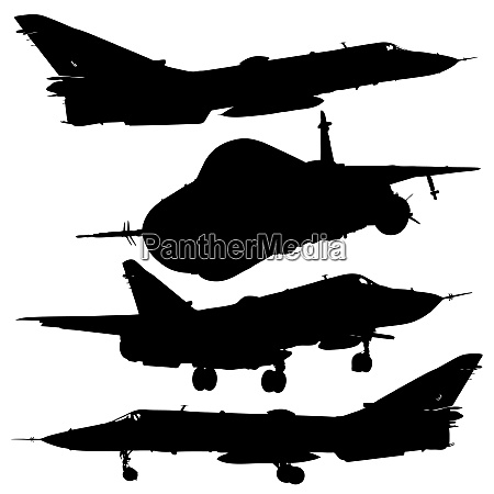 vector illustration military combat airplane silhouettes