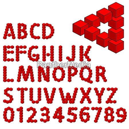 abstract optical illusion three dimension alphabet