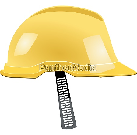yellow helmet with a strap