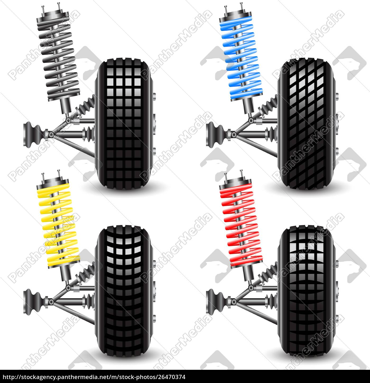 set, front, car, suspension, , frontal, view. - 26470374